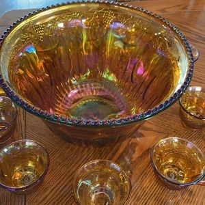 Amber Carnival Glass Punch Bowl /cups/ spoon